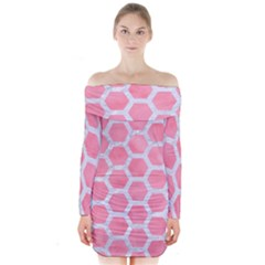 HEXAGON2 WHITE MARBLE & PINK WATERCOLOR Long Sleeve Off Shoulder Dress