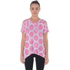 HEXAGON2 WHITE MARBLE & PINK WATERCOLOR Cut Out Side Drop Tee