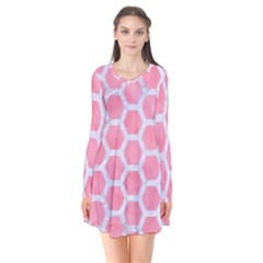 HEXAGON2 WHITE MARBLE & PINK WATERCOLOR Long Sleeve V-neck Flare Dress