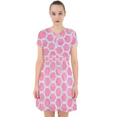 HEXAGON2 WHITE MARBLE & PINK WATERCOLOR Adorable in Chiffon Dress