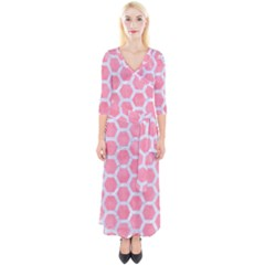 HEXAGON2 WHITE MARBLE & PINK WATERCOLOR Quarter Sleeve Wrap Maxi Dress