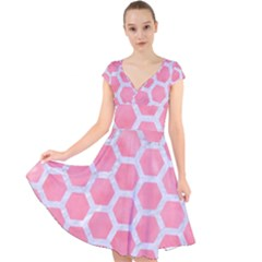 HEXAGON2 WHITE MARBLE & PINK WATERCOLOR Cap Sleeve Front Wrap Midi Dress
