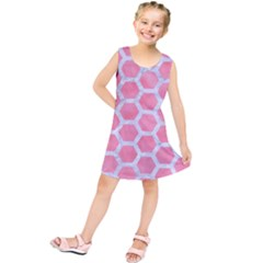 HEXAGON2 WHITE MARBLE & PINK WATERCOLOR Kids  Tunic Dress