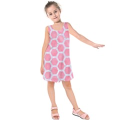 HEXAGON2 WHITE MARBLE & PINK WATERCOLOR Kids  Sleeveless Dress