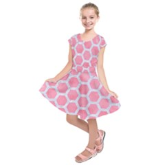 HEXAGON2 WHITE MARBLE & PINK WATERCOLOR Kids  Short Sleeve Dress