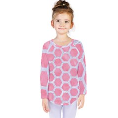 HEXAGON2 WHITE MARBLE & PINK WATERCOLOR Kids  Long Sleeve Tee