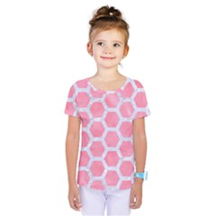 HEXAGON2 WHITE MARBLE & PINK WATERCOLOR Kids  One Piece Tee