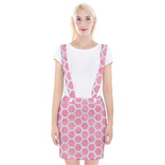 HEXAGON2 WHITE MARBLE & PINK WATERCOLOR Braces Suspender Skirt
