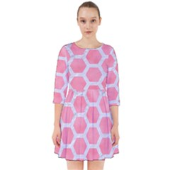 HEXAGON2 WHITE MARBLE & PINK WATERCOLOR Smock Dress