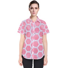 HEXAGON2 WHITE MARBLE & PINK WATERCOLOR Women s Short Sleeve Shirt