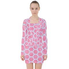 HEXAGON2 WHITE MARBLE & PINK WATERCOLOR V-neck Bodycon Long Sleeve Dress