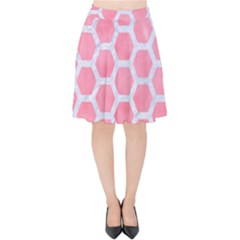 HEXAGON2 WHITE MARBLE & PINK WATERCOLOR Velvet High Waist Skirt
