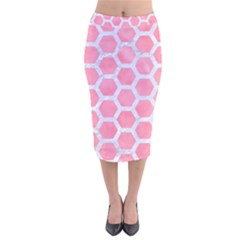 HEXAGON2 WHITE MARBLE & PINK WATERCOLOR Velvet Midi Pencil Skirt