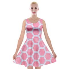 HEXAGON2 WHITE MARBLE & PINK WATERCOLOR Velvet Skater Dress