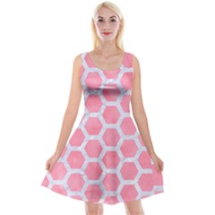 HEXAGON2 WHITE MARBLE & PINK WATERCOLOR Reversible Velvet Sleeveless Dress