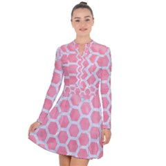 HEXAGON2 WHITE MARBLE & PINK WATERCOLOR Long Sleeve Panel Dress