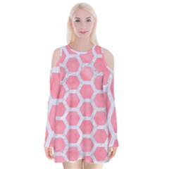 HEXAGON2 WHITE MARBLE & PINK WATERCOLOR Velvet Long Sleeve Shoulder Cutout Dress