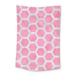 HEXAGON2 WHITE MARBLE & PINK WATERCOLOR Small Tapestry