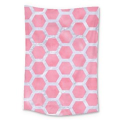 HEXAGON2 WHITE MARBLE & PINK WATERCOLOR Large Tapestry