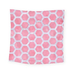 HEXAGON2 WHITE MARBLE & PINK WATERCOLOR Square Tapestry (Small)