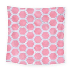 HEXAGON2 WHITE MARBLE & PINK WATERCOLOR Square Tapestry (Large)