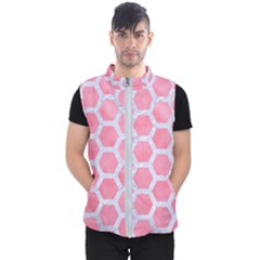 HEXAGON2 WHITE MARBLE & PINK WATERCOLOR Men s Puffer Vest