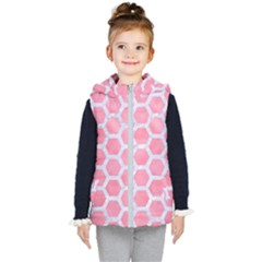 HEXAGON2 WHITE MARBLE & PINK WATERCOLOR Kid s Hooded Puffer Vest