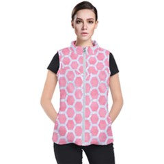 HEXAGON2 WHITE MARBLE & PINK WATERCOLOR Women s Puffer Vest
