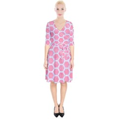 HEXAGON2 WHITE MARBLE & PINK WATERCOLOR Wrap Up Cocktail Dress
