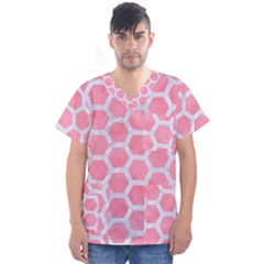 HEXAGON2 WHITE MARBLE & PINK WATERCOLOR Men s V-Neck Scrub Top