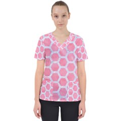 HEXAGON2 WHITE MARBLE & PINK WATERCOLOR Scrub Top