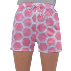 HEXAGON2 WHITE MARBLE & PINK WATERCOLOR Sleepwear Shorts