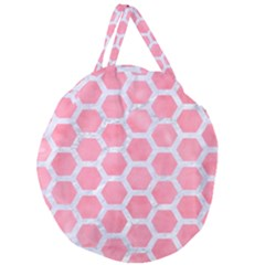 HEXAGON2 WHITE MARBLE & PINK WATERCOLOR Giant Round Zipper Tote