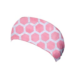 HEXAGON2 WHITE MARBLE & PINK WATERCOLOR Yoga Headband