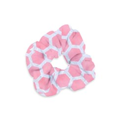 HEXAGON2 WHITE MARBLE & PINK WATERCOLOR Velvet Scrunchie