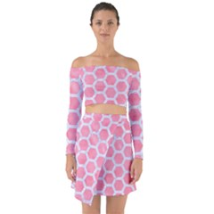 HEXAGON2 WHITE MARBLE & PINK WATERCOLOR Off Shoulder Top with Skirt Set