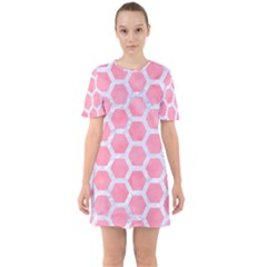 HEXAGON2 WHITE MARBLE & PINK WATERCOLOR Sixties Short Sleeve Mini Dress