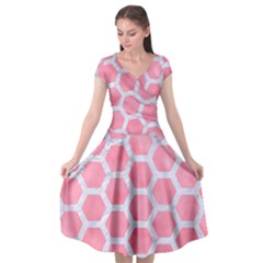 HEXAGON2 WHITE MARBLE & PINK WATERCOLOR Cap Sleeve Wrap Front Dress
