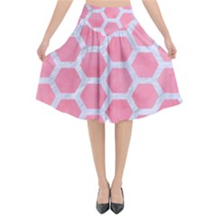 HEXAGON2 WHITE MARBLE & PINK WATERCOLOR Flared Midi Skirt