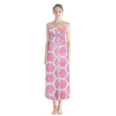 HEXAGON2 WHITE MARBLE & PINK WATERCOLOR Button Up Chiffon Maxi Dress