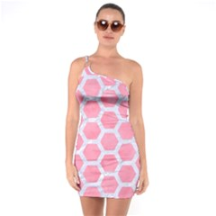 HEXAGON2 WHITE MARBLE & PINK WATERCOLOR One Soulder Bodycon Dress
