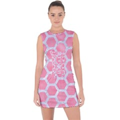HEXAGON2 WHITE MARBLE & PINK WATERCOLOR Lace Up Front Bodycon Dress