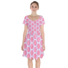 HEXAGON2 WHITE MARBLE & PINK WATERCOLOR Short Sleeve Bardot Dress