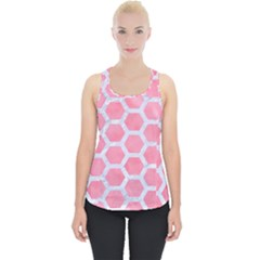 HEXAGON2 WHITE MARBLE & PINK WATERCOLOR Piece Up Tank Top