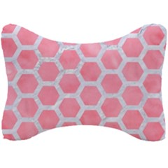 HEXAGON2 WHITE MARBLE & PINK WATERCOLOR Seat Head Rest Cushion