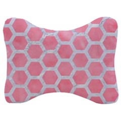 HEXAGON2 WHITE MARBLE & PINK WATERCOLOR Velour Seat Head Rest Cushion