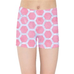 HEXAGON2 WHITE MARBLE & PINK WATERCOLOR Kids Sports Shorts