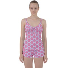 HEXAGON2 WHITE MARBLE & PINK WATERCOLOR Tie Front Two Piece Tankini