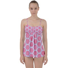 HEXAGON2 WHITE MARBLE & PINK WATERCOLOR Babydoll Tankini Set