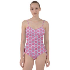 HEXAGON2 WHITE MARBLE & PINK WATERCOLOR Sweetheart Tankini Set